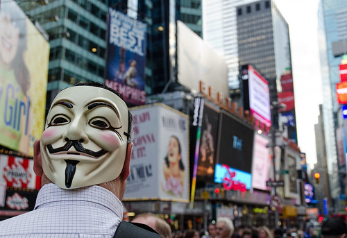Occupy Wall Street - Mask in Times Sq | by Bob Jagendorf