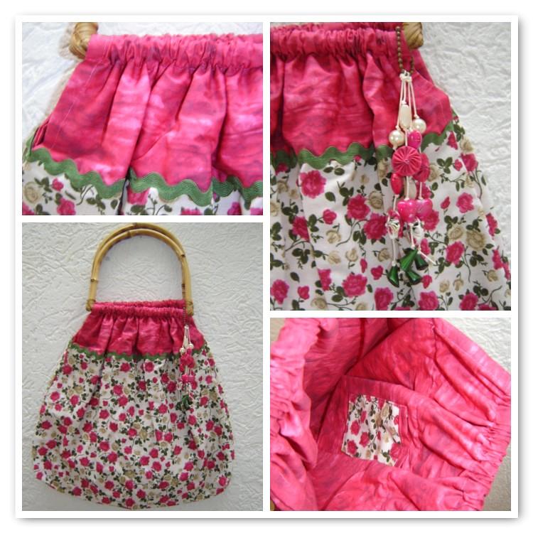 Bolsa De Tecido Com Alça De Bambu : Bolsa com al?a de bambu e estampa flores detalhes