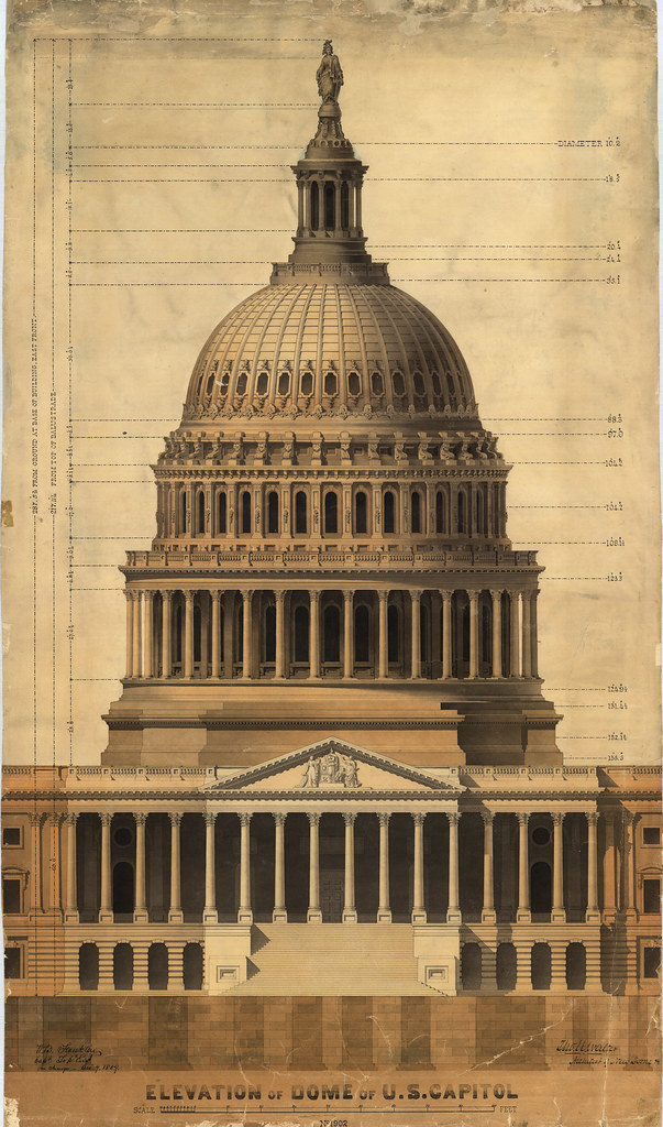 Elevation Of The Dome Of The U S Capitol Drawing Of The