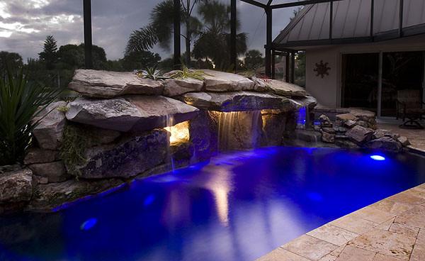 pool waterfall lighting. Top-ten-outdoor-lighting-swimming-pool-lights-natural- Pool Waterfall Lighting