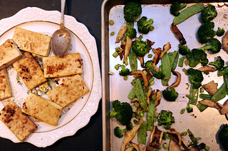 broiled tofu with snowpeas, broccoli and shitake | by sassyradish