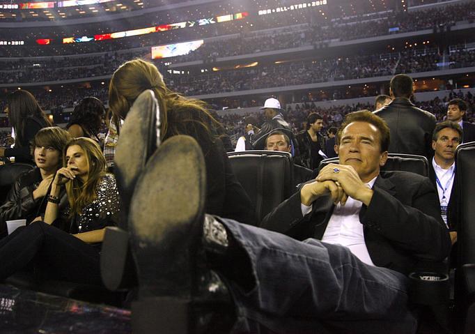 Schwarzenegger With His Feet Up Cowboy Boots Big Man