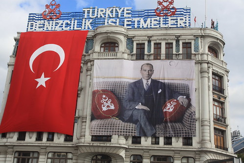 Ataturk poster & flag on bank building | by m3dave