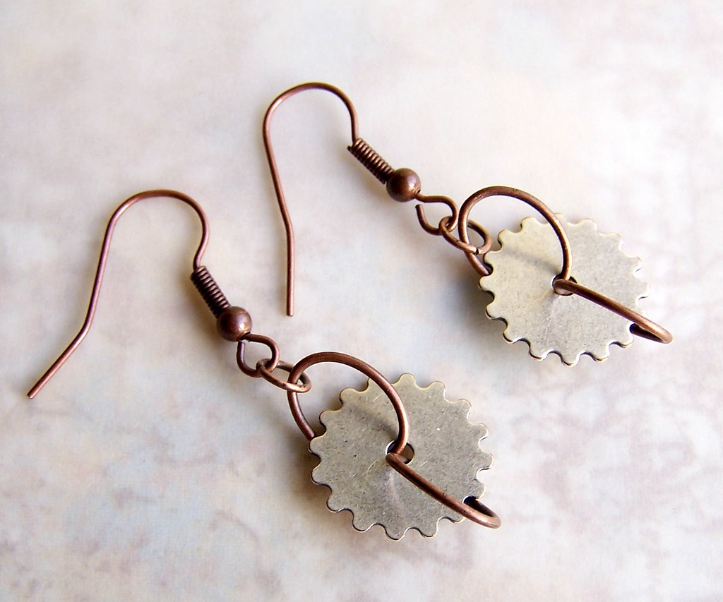 Silver and Copper Steampunk Earrings - Silver Gear Earring… | Flickr