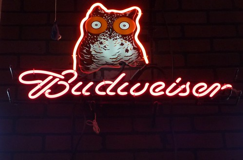 Budweiser beer neon sign inside Hooters in Sacramento, Callifornia | by jeff_soffer