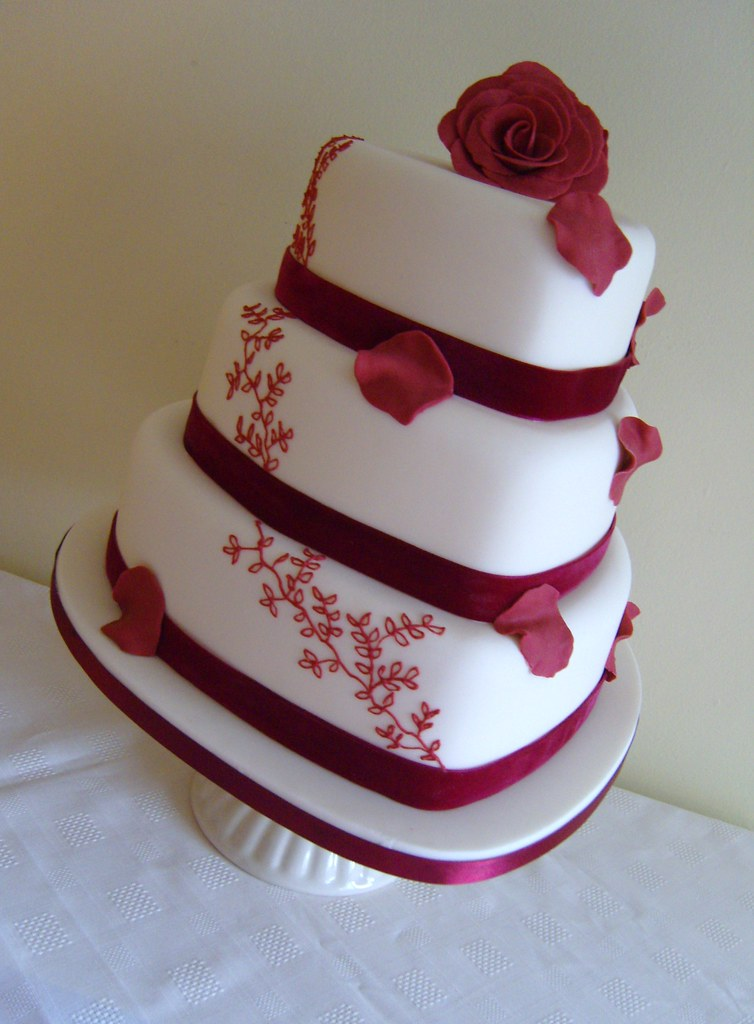 3 Tier Burgundy Heart Wedding Cake