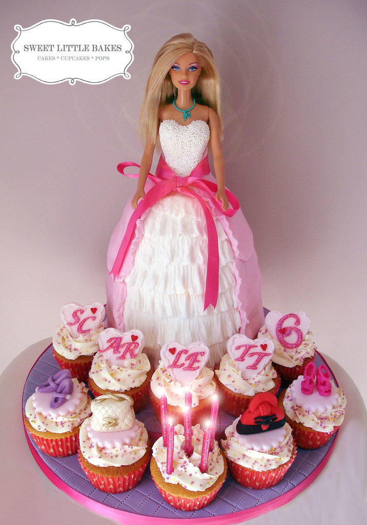 Barbie doll cake & cupcakes with handbags & shoes.
