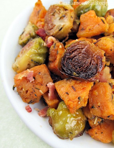 Roasted Brussels Sprouts and Sweet Potatoes with Bacon | by CinnamonKitchn
