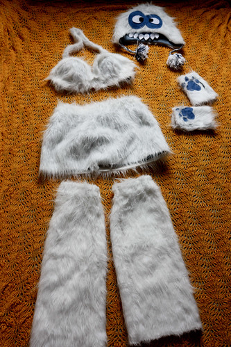 Homemade Yeti Halloween Costume Pieces