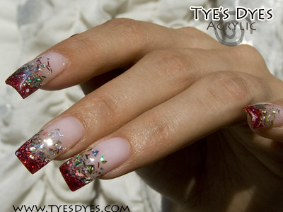 Chrismas Mylar Nails And Glitter Fades Acrylic Nail Designs With