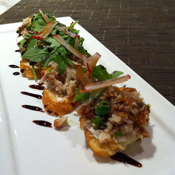 Smoked trout bruschetta with peas, sweet potato, goat chee…   Flickr