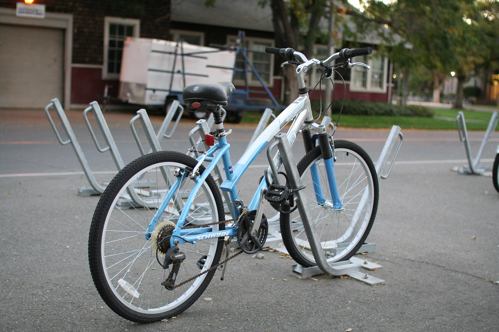 Silver White And Light Blue Schwinn Bicycle University O