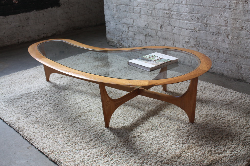 Merveilleux ... Organic Mid Century Lane Biomorphic Coffee Table (Walnut U0026 Glass,  1960u0027s)   By