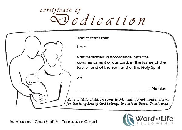 Baby Dedication Certificate This Item Baby Dedication Certificates