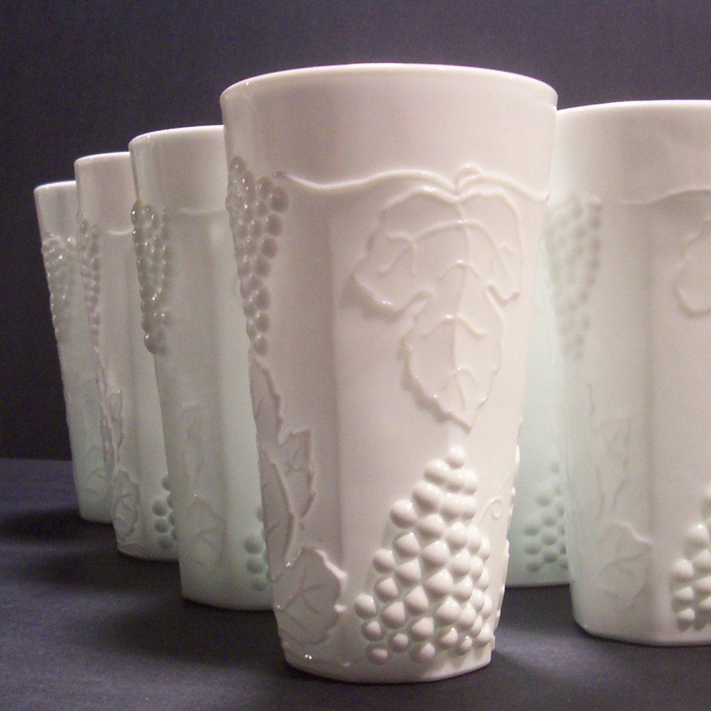 Vintage White Milk Glass Tumbler Cup Set Of 8