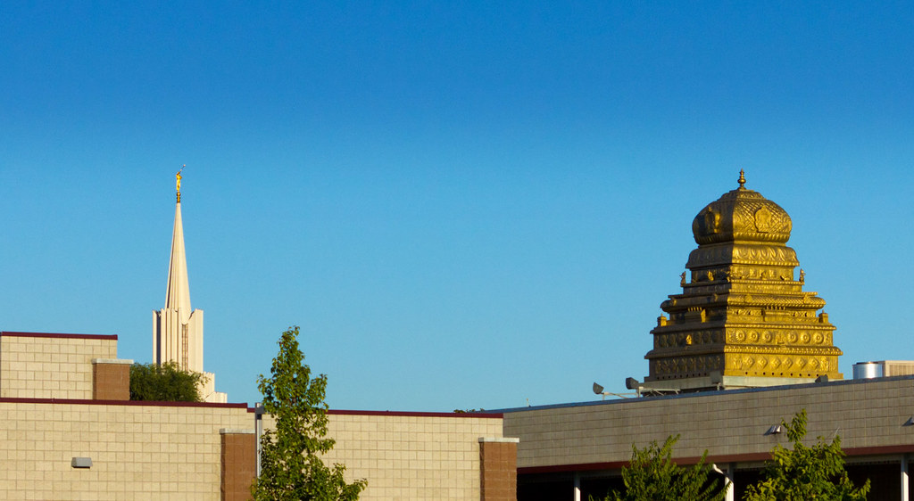 Mormon And Hindu Temple Steeples South Jordan Utah