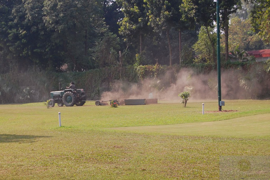 gang mower with sled at Fort William GC in Kolkata