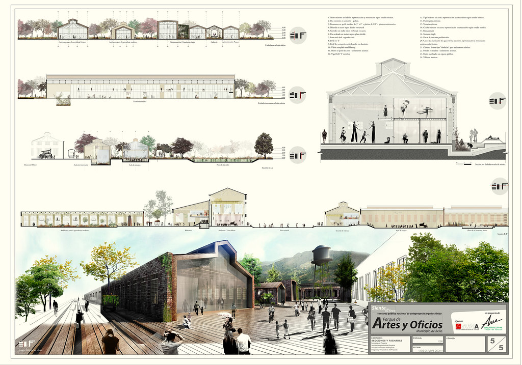 Plancha 05 parque artes y oficios primer puesto concurso Arquitectura de desarrollo