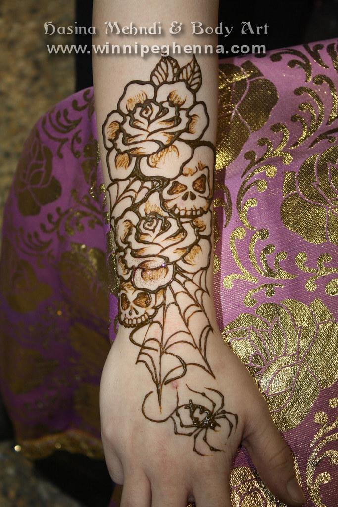 Skull Roses Tattoo In Henna Winnipeg Hasina Mehndi Body Flickr