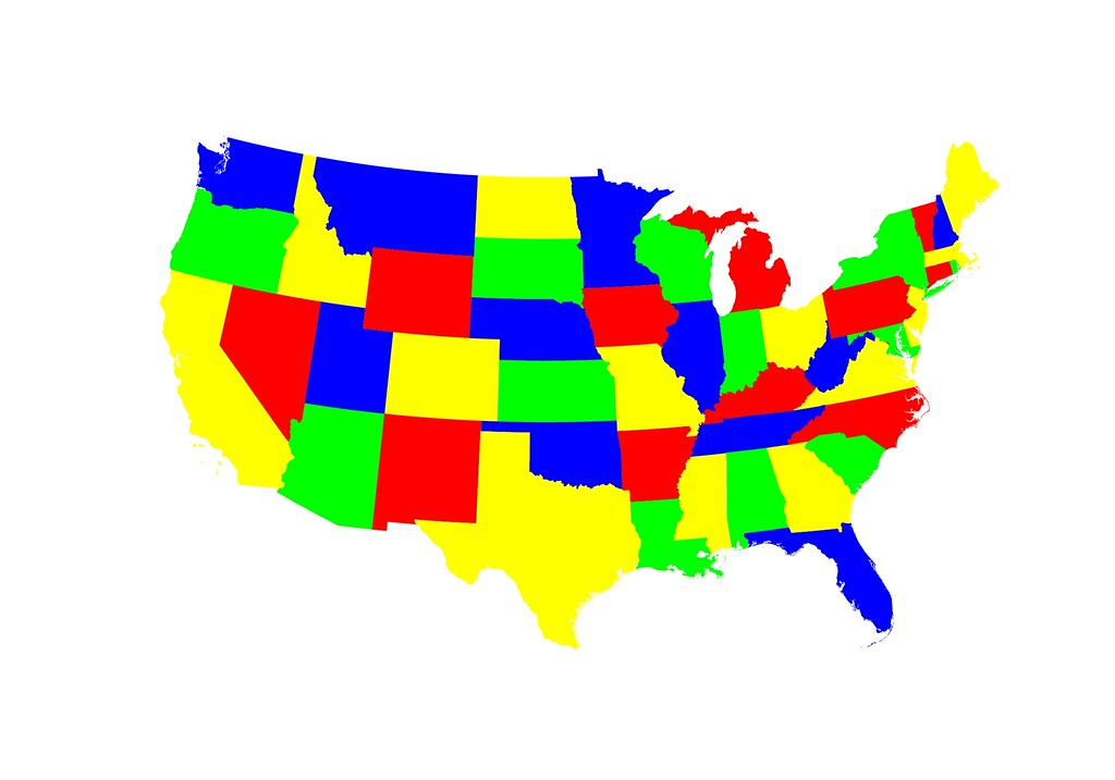 Color Map Of The Contiguous United States Which Is Trivi Flickr - Us map color in states