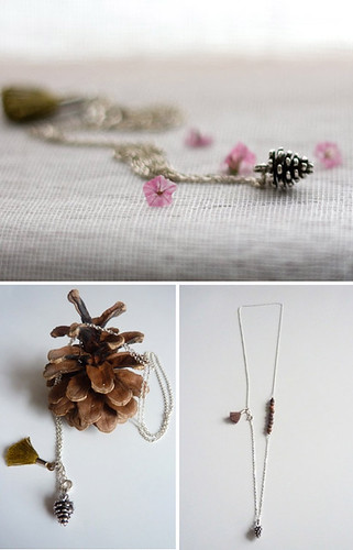pinecone necklace by lennebelle | by the style files