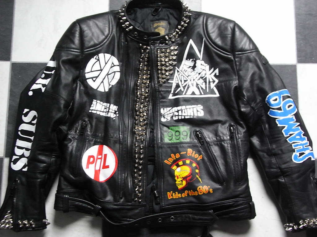 Hand Painted And Studded Punk Motorcycle Jacket Band