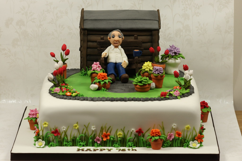 Garden Cake A cake for a 75th birthday celebration. I ...