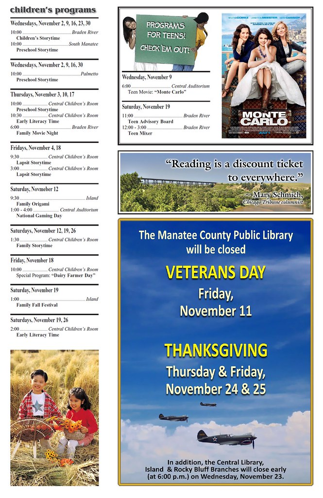 november 2011 calendar of events page 2 the manatee