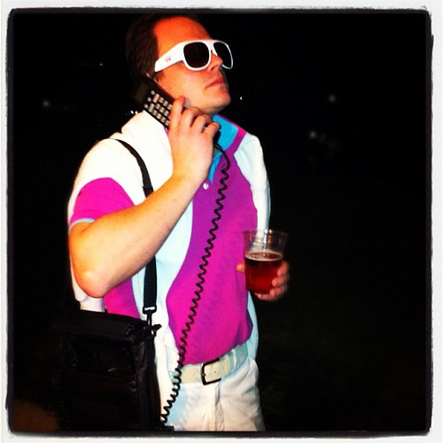 I went as a preppy, collar-popping, car phone bag-having ...