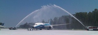 Water cannon salute for Boeing 787 Dreamliner in South Carolina | by The Boeing Company