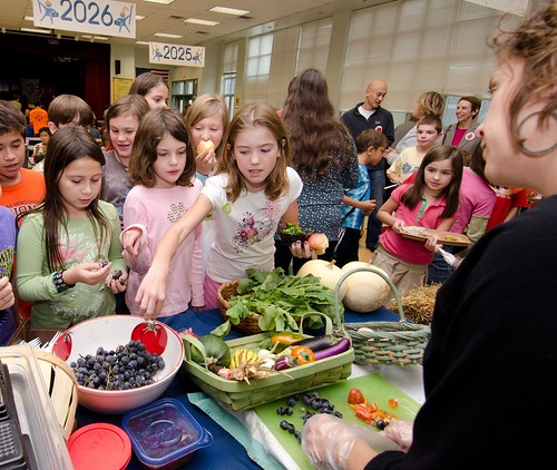 Maple Avenue Market Farm co-owner Sara Guerre invited students to learn about their local farmers, during a National School Lunch Week event at Nottingham Elementary School in Arlington, VA