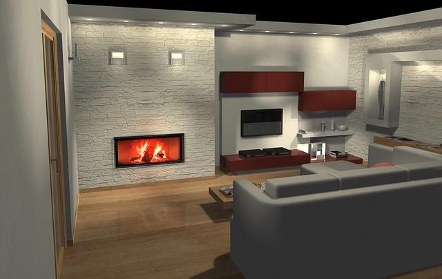 Best Soggiorno Con Camino Moderno Contemporary - House Design Ideas ...