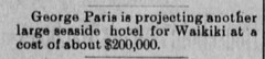 George Paris is projecting another large seaside hotel
