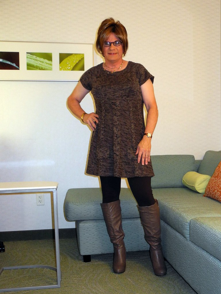 Brown Sweater Dress Leggings Taupe Boots Kris Green Flickr