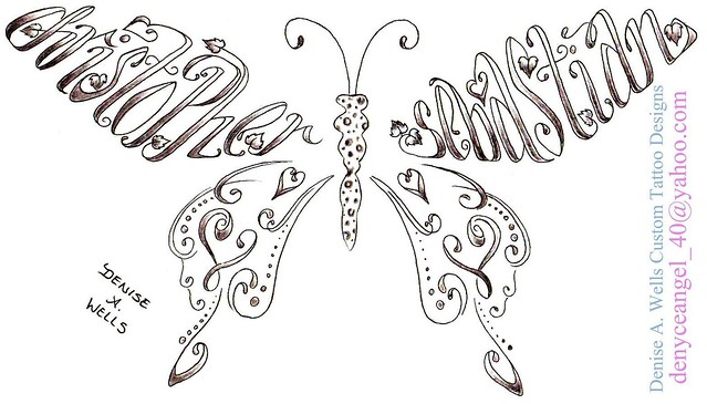 Names Christopher And Sebastian Made Into A Butterfly
