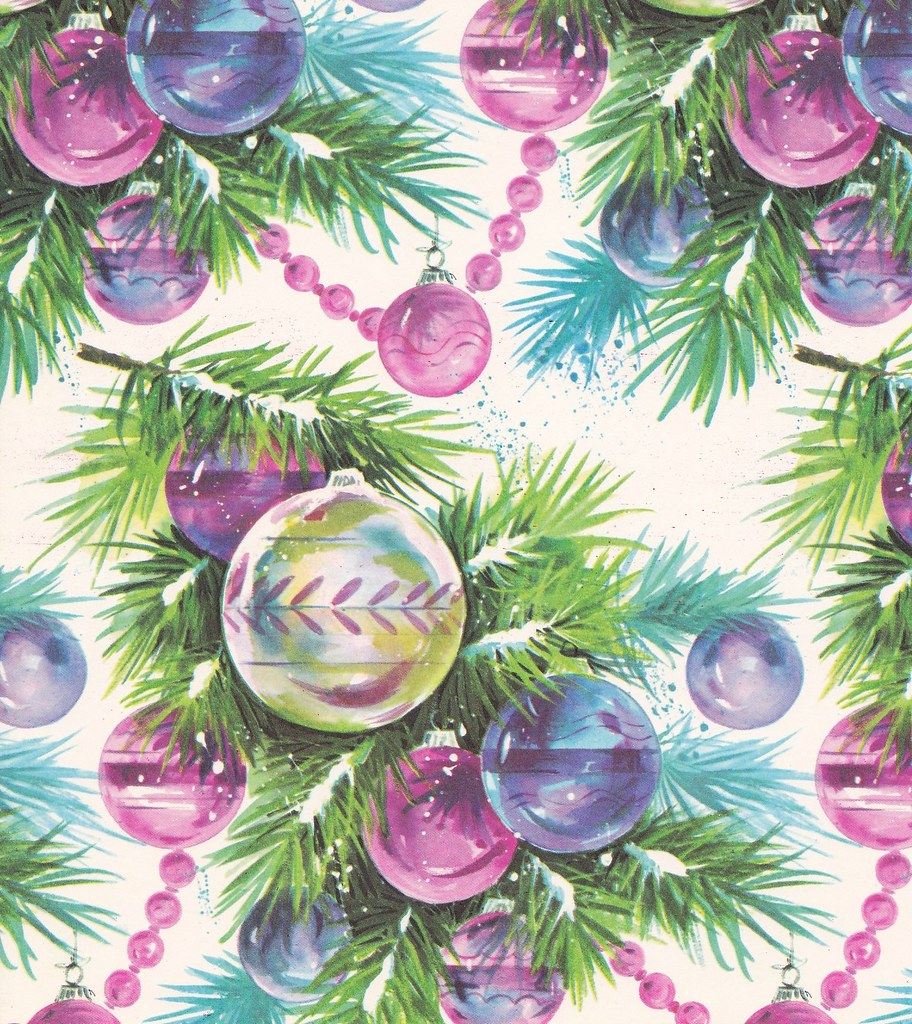 Vintage christmas wrap 1960s ornaments heather david for Christmas craft wrapping paper
