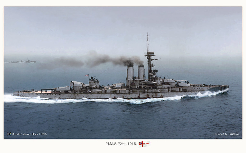 british battleship hms erin in 1918  a fine colourised pho