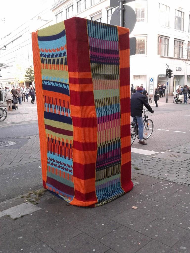 Guerilla Knitting ...   ... has finally arrived in Wiesbaden…   Flickr