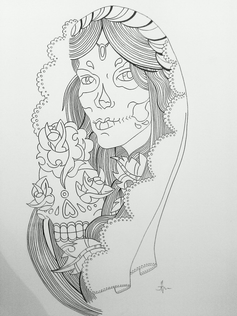 Half Sleeve Tattoo Design Day Of The Dead Outline Flickr