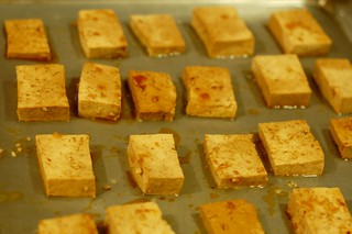 Tofu squares heading into the oven by Eve Fox, Garden of Eating blog, copyright 2011 | by Eve Fox