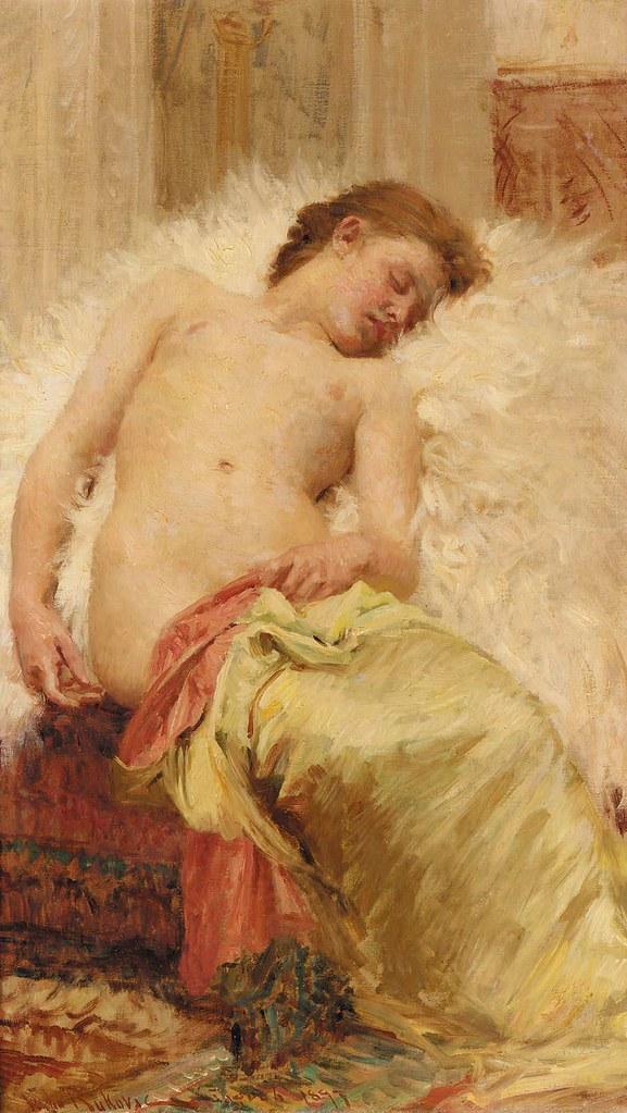 "Vlaho Bukovac (Croatian, 1855-1922), ""Reclining nude"" | Flickr"