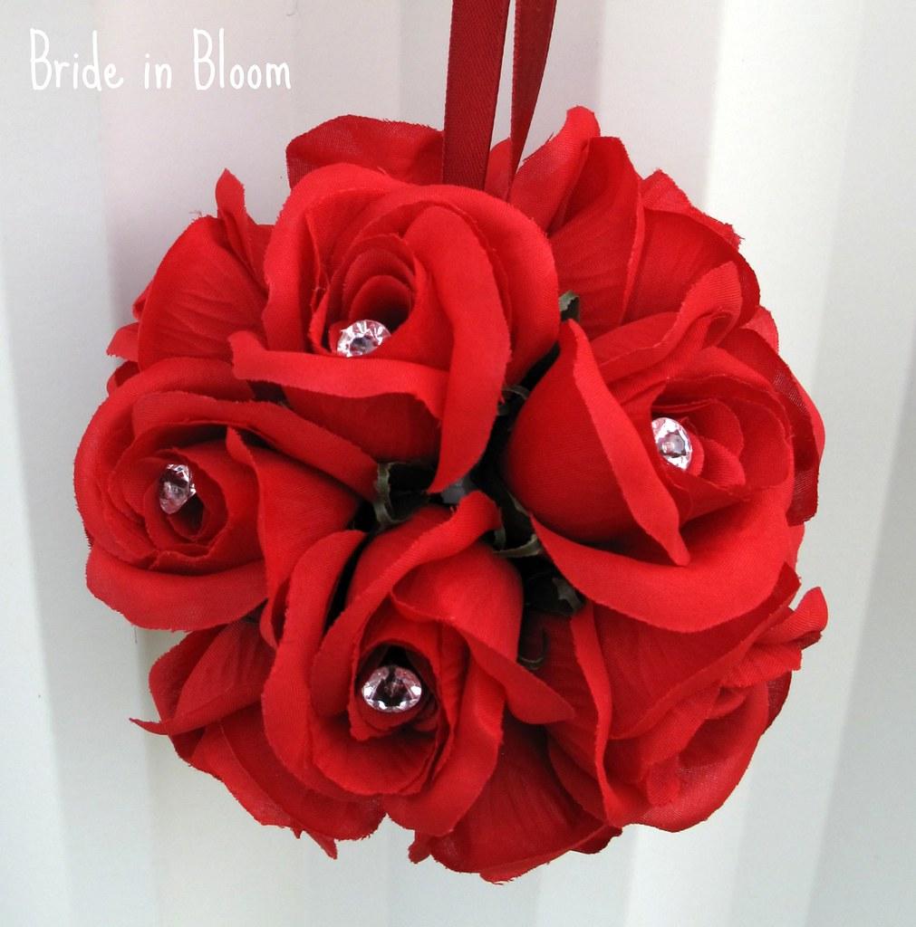 Red Flower Girl Pomander Wedding Kissing Ball Etsy Flickr