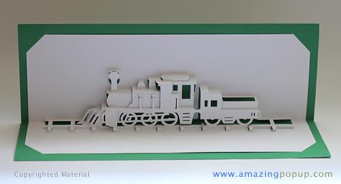 Steam Locomotive Popup Card