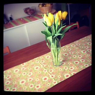 It's ridiculous how happy a change of table runner & a cheap bouquet can make me. | by Hollywouldifshecould