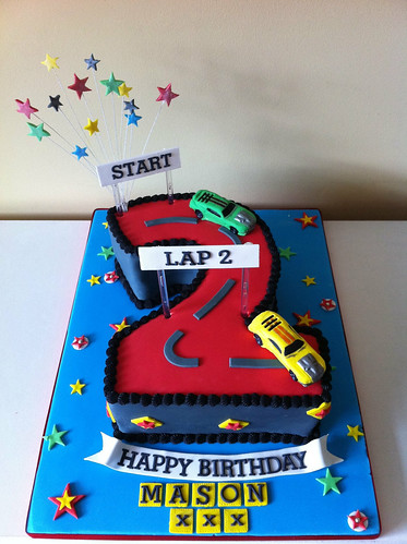 Number 2 Shaped Cake : Number 2 cake Cars made with flowerpaste Lea Layton ...