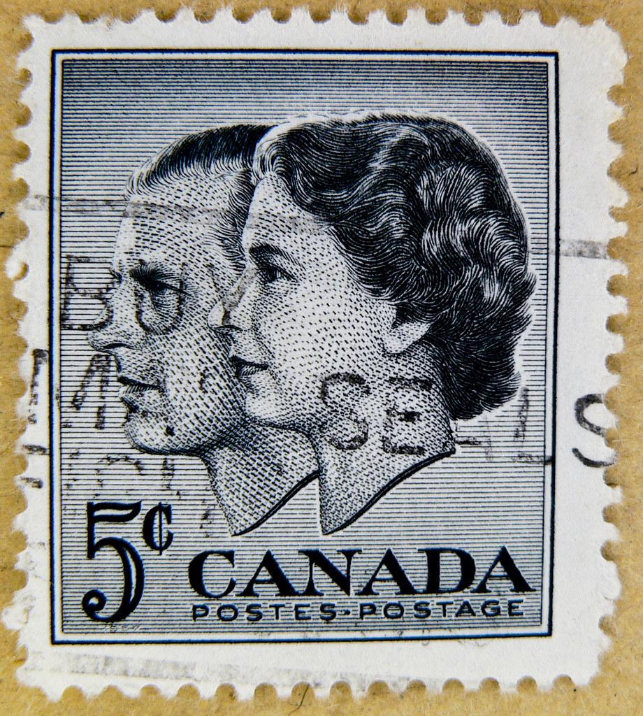 great stamp canada 5c queen elizabeth and prince philip du