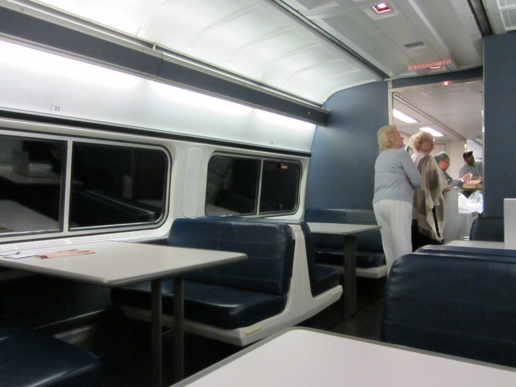 cafe/lounge car on amtrak silver meteor train (night) | flickr