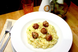 white risotto with fennel sausage meatballs | by SeppySills