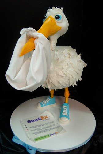 Baby Shower Stork Cake ~ Stork cake now with sneakers stood just under feet