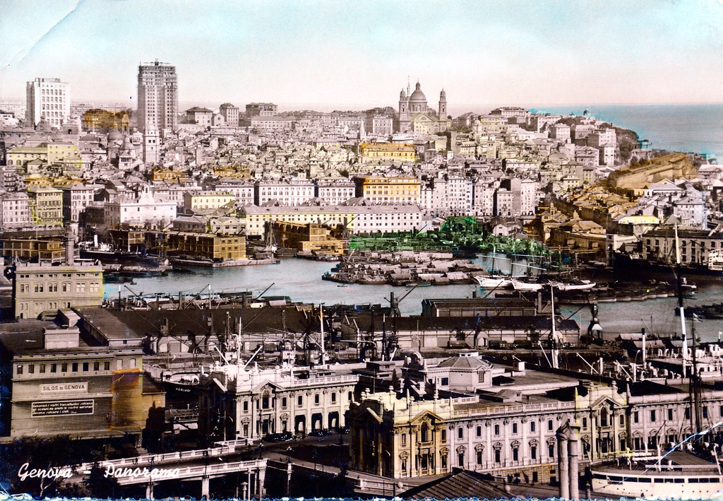 Panorama of Genova, (Genoa), Italy - postcard probably bou ...